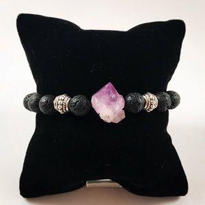 Genuine raw Amethyst cluster lava rock bracelet